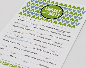 Wedding Mad Libs PDF FILE Print Yourself // Great Ice Breaker Game for Wedding // Fill In the Blanks Wedding Reception Game, Personalized
