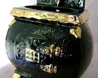 60s vintage pot belly stove wall pocket planter hanging black gold ceramic Old Country Charm