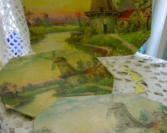 vintage 50s dutch scenery hot pad holder table placement wall hanging