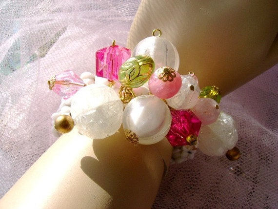 handmade memory milk glass bracelet vintage beads upcycled repurposed