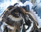 Hippie Brown Feathered Pocketbook and Jean charms your choice