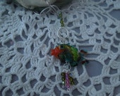 RESERVED for Nancy:  Bright Green Fish (first pic) on Sterling Silver chain (chain in second pic) with lobster claw clasp