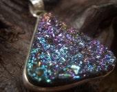 Titanium Druzy Triangle Rainbow Pendant on Velvet