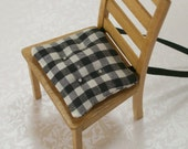 1:12 Dollhouse Miniatures Kitchen Chair Cushions Black White Gingham Checked