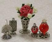Miniature Boudoir Accessories Floral Arrangement Perfume Bottles Red
