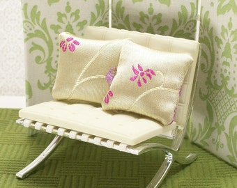 Embroidered Pillows Floral Cream Silky 1:12 Dollhouse Miniatures Scale Artisan