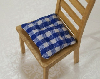 Blue White Chair Cushions Gingham Kitchen 1:12 Dollhouse Miniatures Artisan