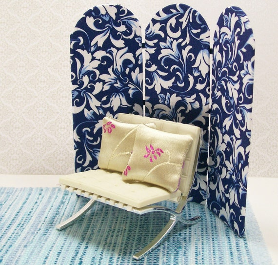 Dollhouse Miniature Folding Screen Room Divider Blue White Inch Scale