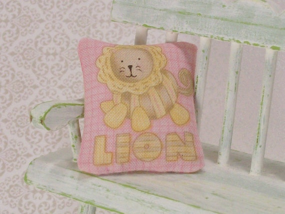 Dollhouse Miniature Pillows Lion Nursery Baby Girl Pink Yellow Stripes