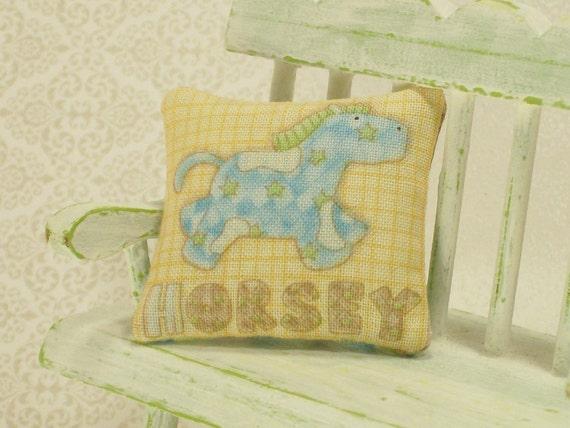 Blue Yellow Horse Pillow Cushion Nursery 1:12 Dollhouse Miniature Artisan