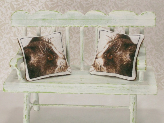 Dollhouse Miniature Pillow Cat Calico Kitty Black White Cushion One Inch Scale