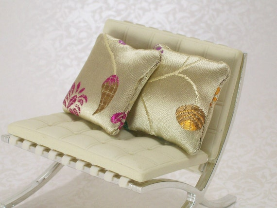 Dollhouse Miniature Pillows Cushions Silky Indian Embroidered Floral OOAK One Inch Scale