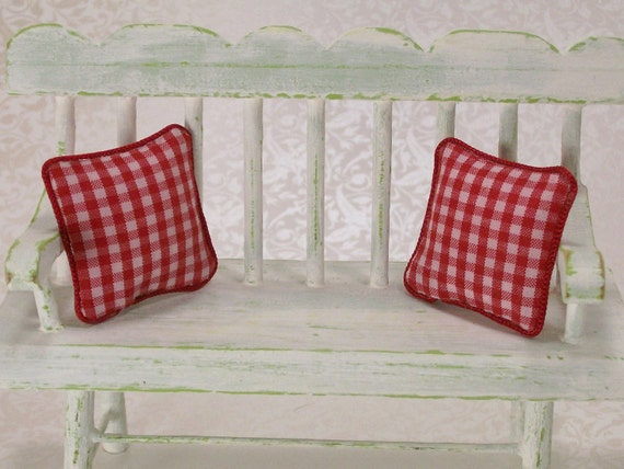Pillows Cushions Red White Gingham Checked 1:12 Dollhouse Miniatures Scale