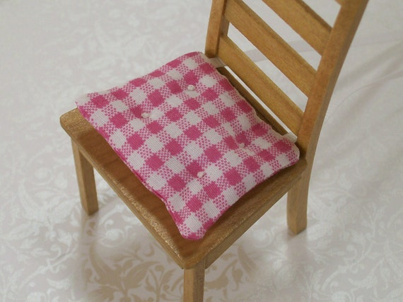 Dollhouse Miniature Kitchen Chair Cushions Pads Pink White Gingham One Inch Scale