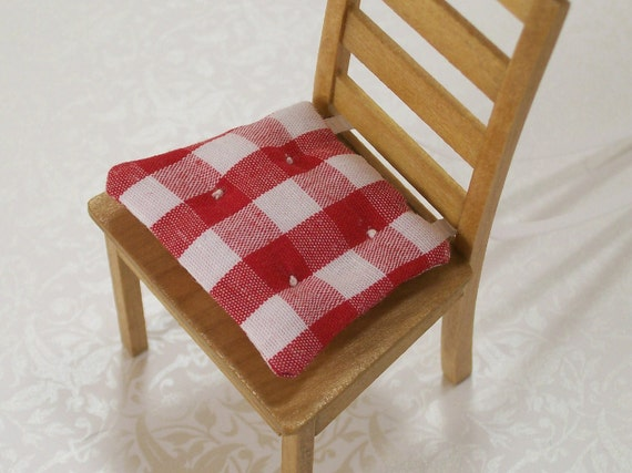 Custom Listing for deemay20 ONLY Dollhouse Miniature Kitchen Chair Cushions Pads Red White Gingham One Inch Scale