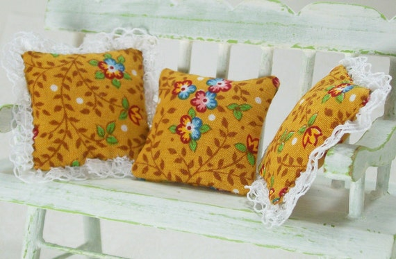 Dollhouse Miniature French Provencal Pillows Gold Floral Lace Cushions One Inch Scale