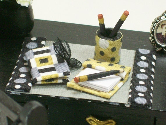 Miniature Office Desk Writing Accessories Dolls House Modern OOAK