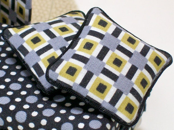 Dollhouse Miniature Pillows Geometric Art Deco Yellow Gray Black One Inch Scale
