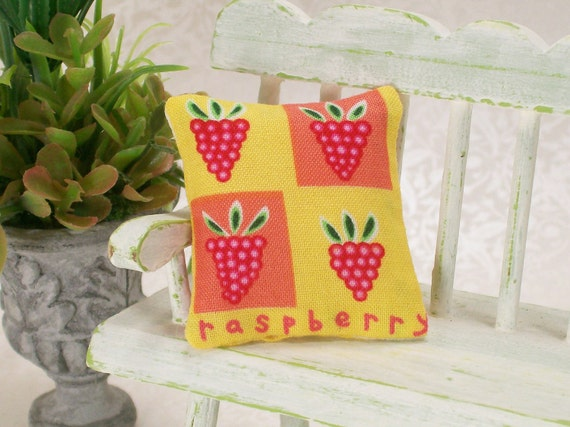 Dollhouse Miniature Fruit Pillow Raspberry Raspberries Yellow Peach Hot Pink One Inch Scale