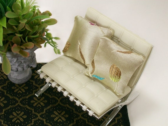 Embroidered Pillows Indian Silky Cream India 1:12 Dollhouse Miniatures Artisan
