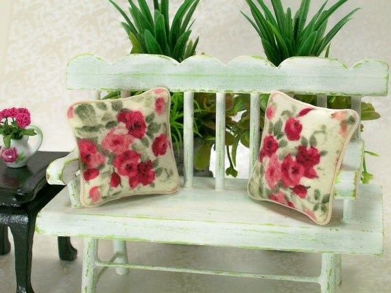 Dollhouse Miniature Pillows Cabbage Roses Pink Red Rose Victorian Shabby Chic Floral Flowers Throw Toss Cushions One Inch Scale