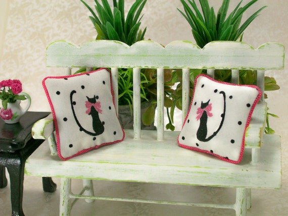 Dollhouse Miniature Pillows Pussy Kitty Cat Black White Hot Pink Polka Dot Bows Throw Toss Novelty One Inch Scale Parisian Chic