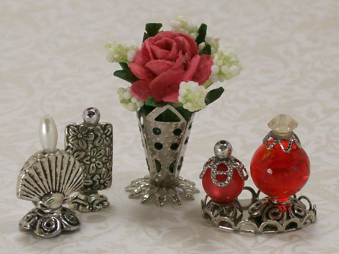 Miniature Boudoir Accessories Floral Arrangement Perfume