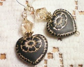 FLORENCE - ANTIQUED CZECH AND SWAROVSKI CRYSTAL HEART EARRINGS