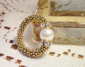 VERMEIL GOLD RING - Swarovski Crystal Pearl Ring