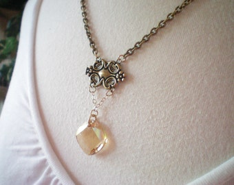 VICTORIA II - SWAROVSKI CRYSTAL AND ANTIQUED GOLD MEDALLION NECKLACE