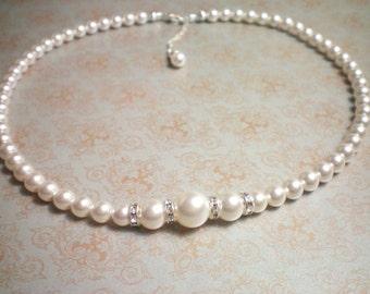 LISBETH Bridal Necklace - Swarovski White Pearl Necklace