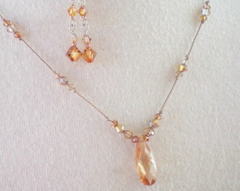 AMBER - CRYSTAL HAND KNOTTED SILK NECKLACE AND EARRING SET