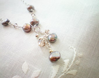 MIA - Freshwater Pearl and Swarovski Crystal Drop Necklace