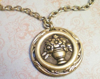 POSIES - Antiqued Brass Button Necklace