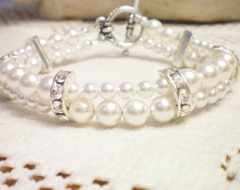 MADRID - Swarovski Pearl and Rhinestone Bracelet