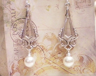R H A P S O D Y - Antiqued Silver Swarovski Pearl Drop Earrings