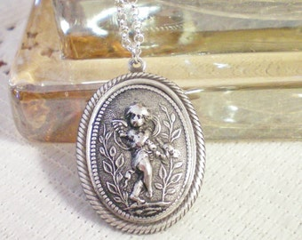 ANGELIC  - Antiqued Silver Medallion Necklace