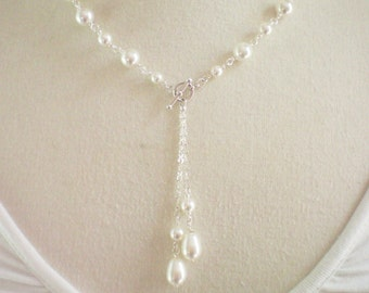BELLISE SET  -  Swarovski Bridal/Bridesmaid Pearl Toggle Necklace  and Matching Drop Earrings