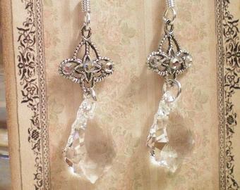 CELIA - Swarovski Baroque and Antiqued Silver Earrings