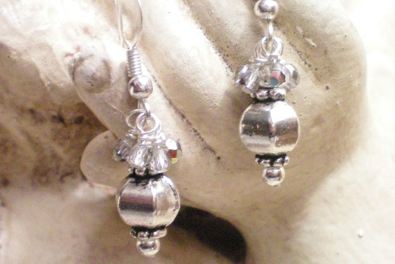 LANTERN - FACETED SILVER EARRINGS