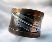 Final Markdown - Relic Wide Band Feather Ring - Unisex -  Red Brass and Sterling Silver - Men - Women