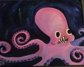 Angry Octopus Oil Painting
