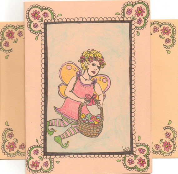Easter egg fairy card and envelope