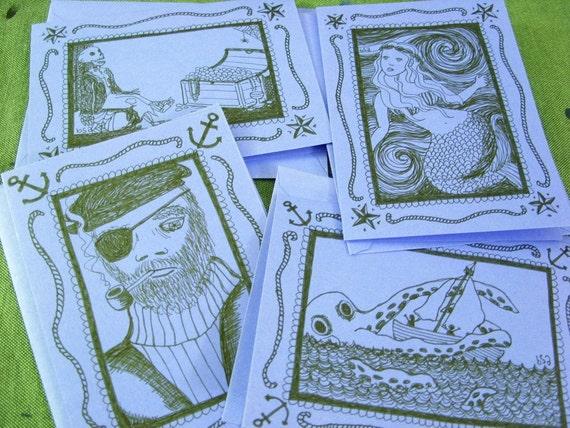 set of four nautical notecards