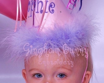 Custom, First Birthday Hat, Personalized, Girl or Boy, YOU CHOOSE COLOR by Gingham Bunny