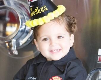 Firetruck, First Birthday Hat, Second Birthday Hat, Cake Smash Hat,  by GINGHAM BUNNY