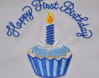 Boutique Quality, Happy First Birthday Bib, Cupcake, YOU CHOOSE COLORS, by Gingham Bunny