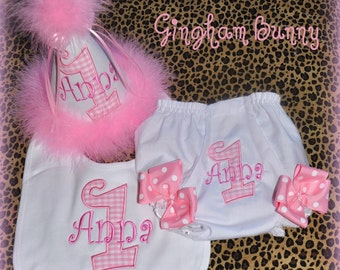 Ultimate Gingham, 3 Piece Set, Custom First Birthday Hat, Bib, and  RIBBON Bloomers,, You choose colors,  by GINGHAM BUNNY