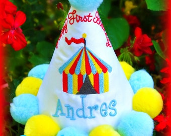 Circus Birthday Hat, Carnival Birthday Hat, First Birthday Hat,  You Choose Colors,     by GINGHAM BUNNY EMBROIDERY