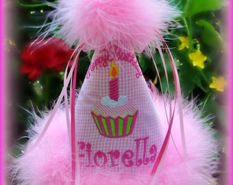 GINGHAM Boutique Quality, Cupcake First Birthday Hat, You Choose Colors,    by GINGHAM BUNNY